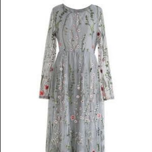 New Floral Embroidered Mesh Dress